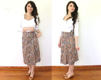 70s Floral Wrap Skirt / 1970s High Waisted Floral Wrap Skirt