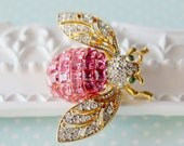 Vintage Rhinestone Crystal Pink Bee Brooch Pin - Insect Fly Bug