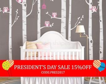 President's Day Sale - Birch Tree With Owls Wall Sticker Set, Birch Tree Decal, Baby Nursery Wall Stickers, Nursery Wall Decals, Tree and...