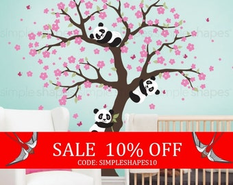 Sale - Panda and Cherry Blossom Tree Wall Decal, Panda Wall Decal, Blossom Tree for Baby Nursery, Kids or Childrens
