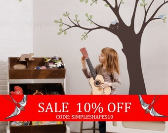 Sale - Ceiling Tree with Birds and Nest Wall Decal, Baby Nursery Tree Wall Decal, Birds and Nest Wall Decal