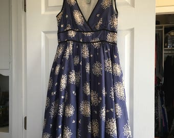 Vintage blue silk dress - size 4 - 100% Silk