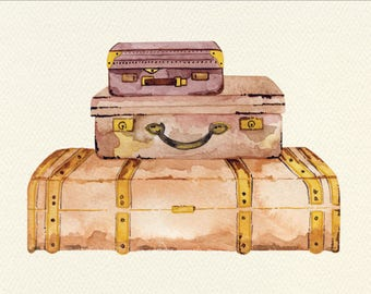 Suitcases Unframed Watercolor Art Print