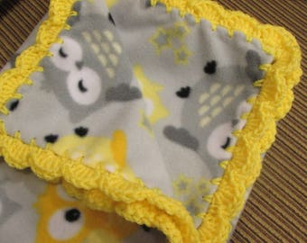 Owls Print Fleece Baby Boy or Girl Blanket Owls With Bright Yellow Shell Crochet Edge