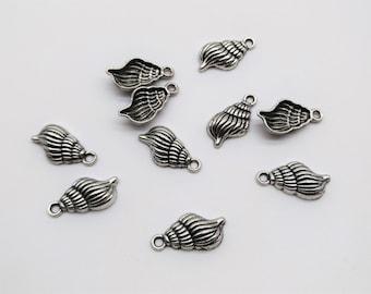 10 pcs Sea Shell Charms  -Sea Charms, Ocean Charms, Beach Charms, Antique Silver, Metal Charms, Metal Pendant, Beach bead, Summer Charms