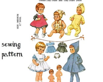 "Vintage PDF Sewing Pattern to make Dolls Clothes a Wardrobe of Clothes for 14"" Baby Dolls size Betsy Wetsy & Tiny Tears Digital Download"