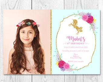 Unicorn Floral Printable Invitation with/without Picture 4x6 or 5x7