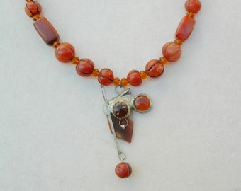 Joan of Arc, Abstract Religious Warrior, Agate, Copper & Glass Pendant, Himalayan Carnelian Beads, Small Glass/Clay Beads, by SandraDesigns