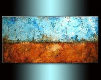 Textured Abstract Painting  Contemporary Blue , Brown Modern  Fine Art by Henry Parsinia Large 48x24