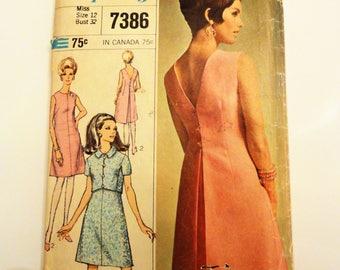 1960s Dress pattern, sleeveless dress, short jacket, back interest, vintage sewing pattern, Designer Simplicity 7386 misses size 12 bust 32