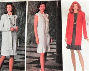 1990s Dress pattern, long jacket, sleeveless dress, uncut vintage sewing pattern, Butterick 5905 misses size 18, 20, 22 bust 40, 42, 44