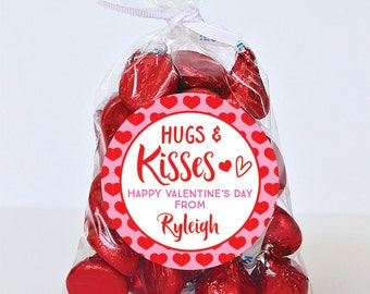 Valentine's Day Stickers - Hugs & Kisses - Sheet of 12 or 24