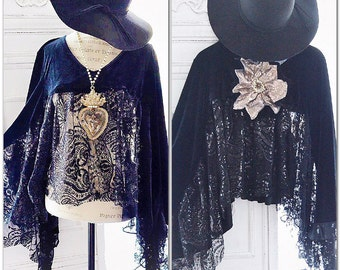 Gypsy soul black poncho, Stevie Nicks style gypsy lace velvet poncho top, Boho style lace, Bohemian beach mermaid top,True rebel clothing