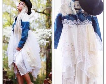 Sale S boho jean jacket, Romantic lace n denim duster, Spell n gypsy jean kimono, Hippie chic kimono, Gypsy soul denim, True rebel clothing