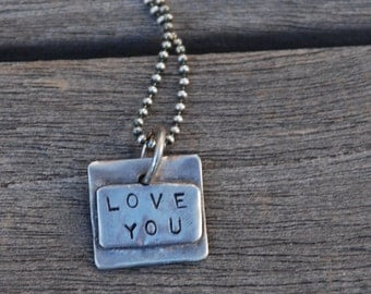 LOVE YOU Necklace Rustic hand stamped tiny Charm double layer STERLING on Sterling Silver Chain with tiny Heart on back Pendant Necklace