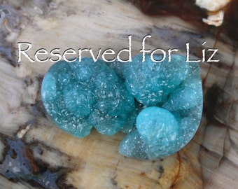 Reserved for Liz Only  Deep Beautiful Blue SUPER Botryoidal SUPER Sparkling Hemimorphite Drusy Druzy Cabochon