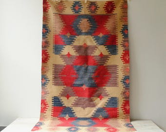 Vintage Kilim Rug, Pink and Blue Rug, Runner Rug, 5' x 3'