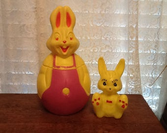 Easter Bunny Plastic Blow Molds Bank & Candy Container Holiday Decorations