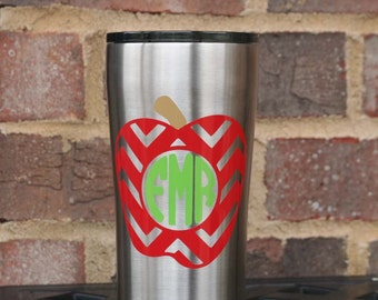 Monogrammed 20 oz Ozark insulated tumbler and lid with chevron apple and 3 letter monogram - Great Teacher Gift