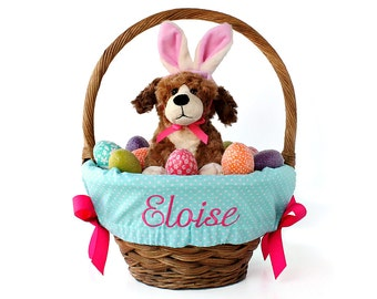 Personalized Easter Basket Liner, Aqua Tiny Dots, Includes Embroidered Name, Custom Basket Liner - You choose font, thread, and ribbons