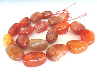 """Smooth Red Agate Large Nuggets 15"""" strand"""