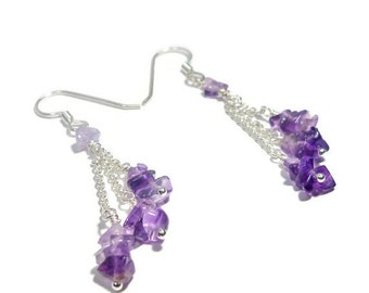 30% OFF Amethyst Cascade Earrings- Argentium Sterling Silver As Seen On The Vampire Diaries