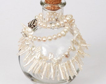 Unique Mixed White Freshwater Pearl Multi Strand Necklace in Silver