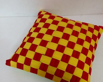 merry and bright plaid red pillow and yellow pillow cover,personalized midcentury modern art new home housewarming gifts