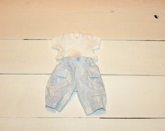 Blue Patterned Pants and White Tshirt - 12 inch doll clothes