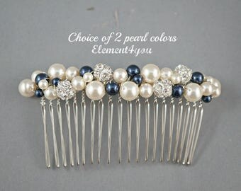 Bridal hair comb, wedding hair accessories, bridal hair pieces, rhinestone hair comb, wedding hair comb, bridal pearl, Ivory Champagne mix