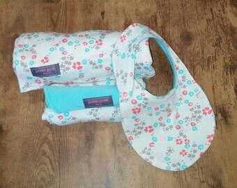 Organic Baby Blanket GIFT SET, Pink Baby Blanket Gift Set, Baby Shower Gift, Floral Baby Gift Set, New Baby Gift Set