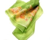 Greenery green spring orchid floral hand paint luxury long feminine silk scarf