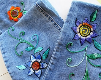 Embroidered Bell Bottom Jeans / Hippie Jeans / Hand Embroidery / Bell Bottoms / Upcycled Jeans / Deb Jeans / Hippie Jeans / Boho Jeans