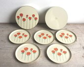 Otagiri Japan Rose Coasters In Box Lacquer Set Of 5 Coasters Mid Century Cocktail Party Red Rose