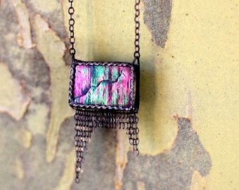 Black Iridescent Stained Glass Necklace