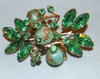 Vintage / Art Glass / Juliana / Brooch / Green / Gold / Old Jewellery / Jewelry / Rhinestone
