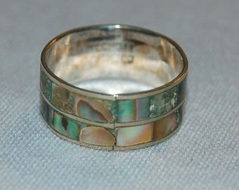 Vintage / Ring / Silver / Sterling / Abalone / Hechon / Mexico / old jewellery / jewelry