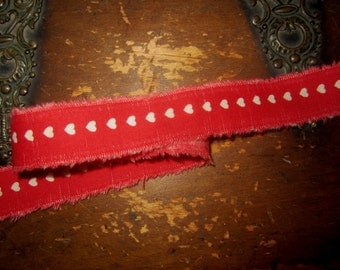 Tattered Cotton Ribbon Red with Tan Hearts Perfect for Valentines Day