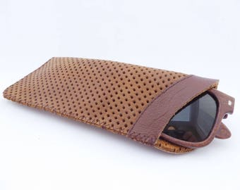 Leather Sunglasses Case / Eyeglass Leather Pouch / Brown Leather Case