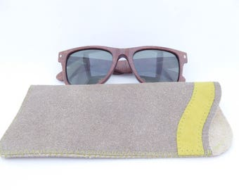 Leather Sunglass Case / Gray and Lime Green Leather / Sunglass Pouch / Eyeglass Leather Case / Unisex Case / One of a Kind
