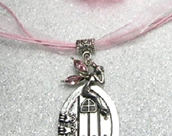 Fairy door necklace - faerie portal necklace on organza cord - pink crystal winged fairy - fairy jewellery