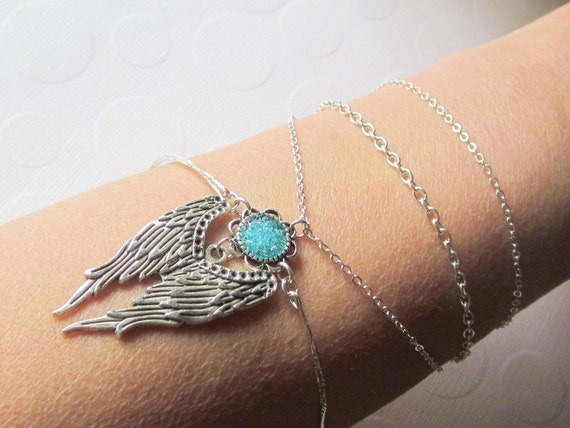 Angel Wing Bracelet Wing Arm Jewelry Bird Wing Bangle Silver Chain Cuff Blue Arm Band Large Wing Bracelet  for Funeral Gift