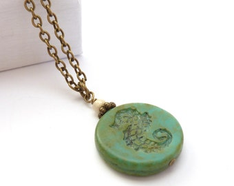 Seahorse Necklace - Turquoise Green Rustic Picasso Glass Boho Pendant - Bohemian Beach Jewelry