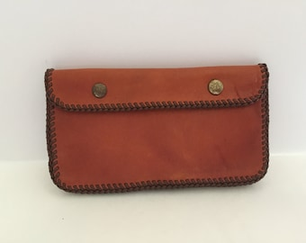 Vintage handmade whipstitched leather wallet