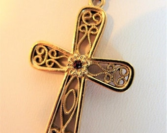 ON SALE Pretty Vintage Sarah Coventry Gold Tone Cross Necklace
