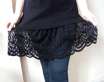 Black dress Extender, Black lace skirt extender slip, Cotton Slip Extender, dress extender slip size XL 2XL