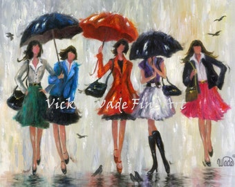 Five Rain Girls Art Print, five sisters, five girlfriends, five ladies, fashion painting, wall art, woman fashion art, Vickie Wade Art
