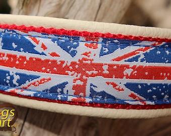 "Dog Collar ""Union Jack"" by dogs-art, union jack collar, leather dog collar, custom dog collar, flag dog collar, british dog collar, dog"