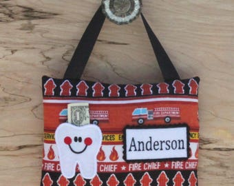 SHIPS NEXT DAY,Fire truck tooth fairy pillow,Fire truck,Fireman,Boy tooth fairy pillow,Personalized tooth fairy pillow,Tooth fairy pillow