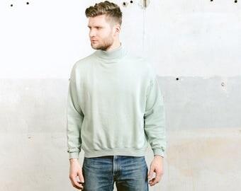 Turtkleneck Sweatshirt . Vintage 90s Men's Sweater Turtle Neck Mock Neck Sweatshirt Pastel Green High Neck Minimalist Pullover . size Large